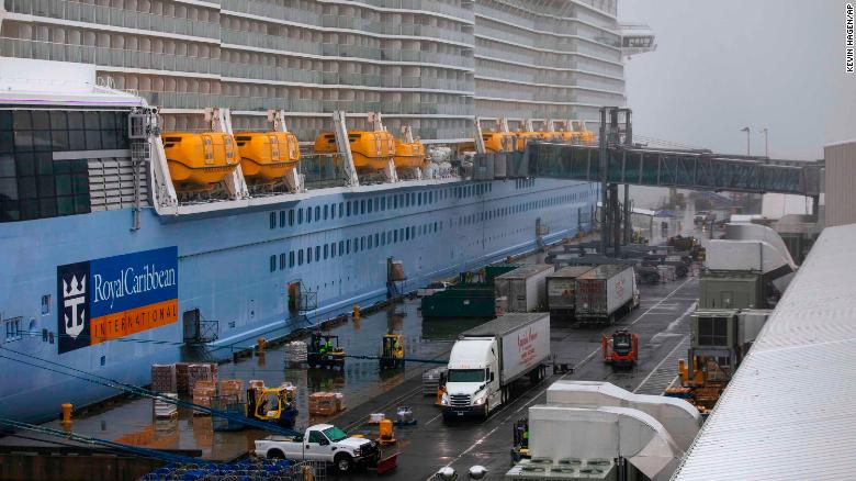 The Anthem of the Seas cruise ship is seen docked at the Cape Liberty Cruise Port in Bayonne, New Jersey, on February 7. Passengers were to be screened for coronavirus as a precaution, an official with the Centers for Disease Control and Prevention told CNN.