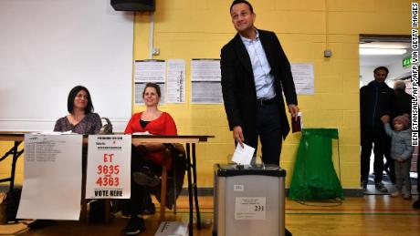 Ireland's leader Leo Varadkar casts his vote at a polling station in Castleknock, Dublin on February 8, 2020.