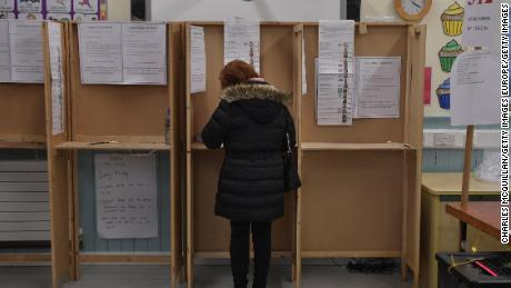 A woman casts her ballot in Dublin on Saturday.