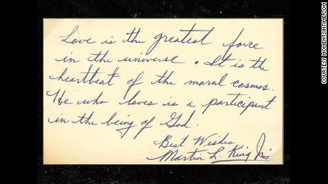 In a handwritten note, Martin Luther King Jr. defines his meaning of love. The note is on sale for $42,000.