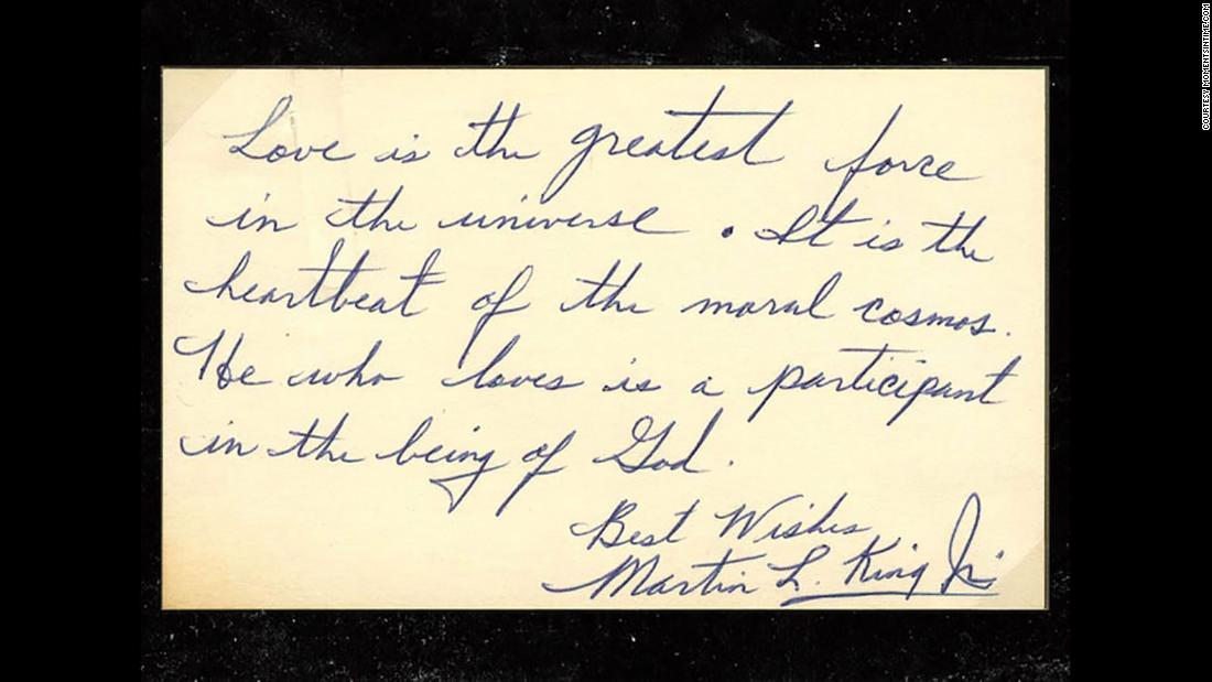 Martin Luther King Jr. explains the meaning of love in rare handwritten note