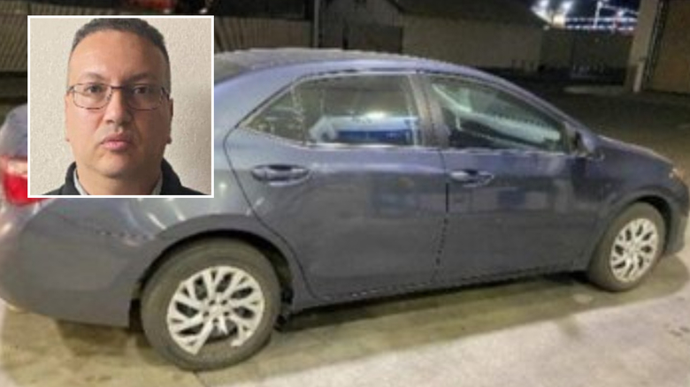 Ragheb is pictured along with his vehicle, a gray 2018 four-door Toyota Corolla.