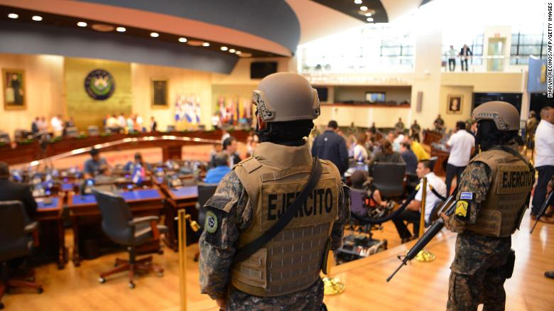 Members of the Salvadoran military inside the country's legislative assembly on Sunday.
