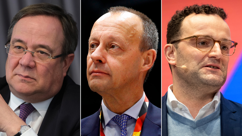 Armin Laschet, Friedrich Merz and Jens Spahn are seen as the leading contenders to replace Angela Merkel, following Annegret Kramp-Karrenbauer's decision to step down as CDU chairwoman.