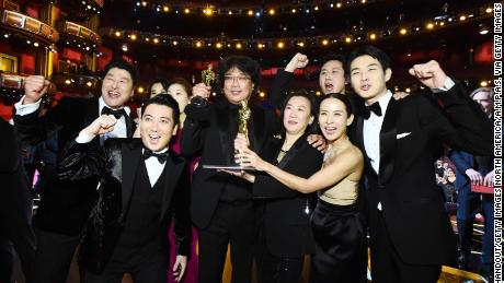 """Cast and crew of """"Parasite"""" at the Oscars on February 9, 2020 in Hollywood, California."""