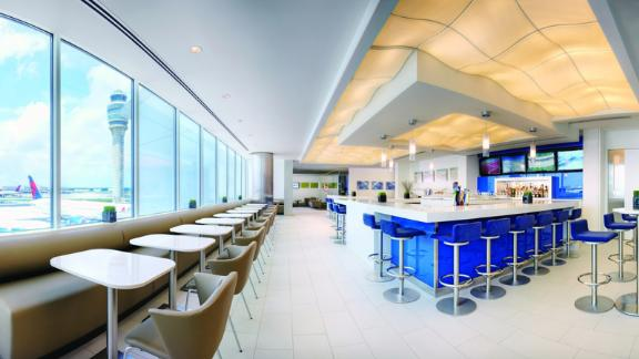 Access Delta Sky Clubs like this one in Atlanta with the Delta Reserve Amex credit card.