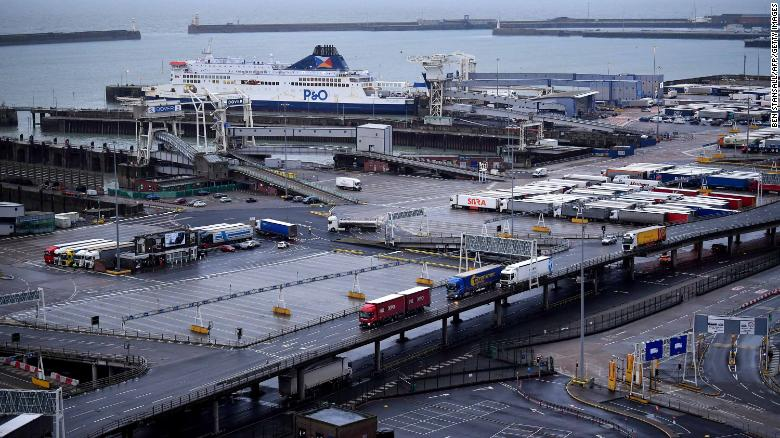 Commercial trucks arrive and leave the port of Dover.