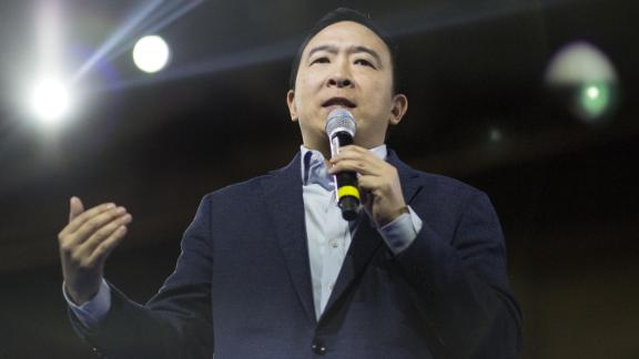 Yang speaks during an event in Manchester, New Hampshire, in February 2020.