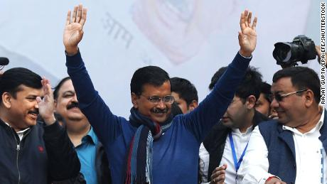 Aam Aadmi Party (AAP) chief and Chief Minister of Delhi Arvind Kejriwal (C) celebrates after winning the Delhi Assembly elections, New Delhi, India, 11 February 2020. AAP is set to form the government for the second term in Delhi after the current trends shows it is set for the majority of seats.