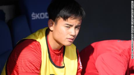 Takefusa Kubo on the Real Mallorca substitute bench during the La Liga match against Espanyol.