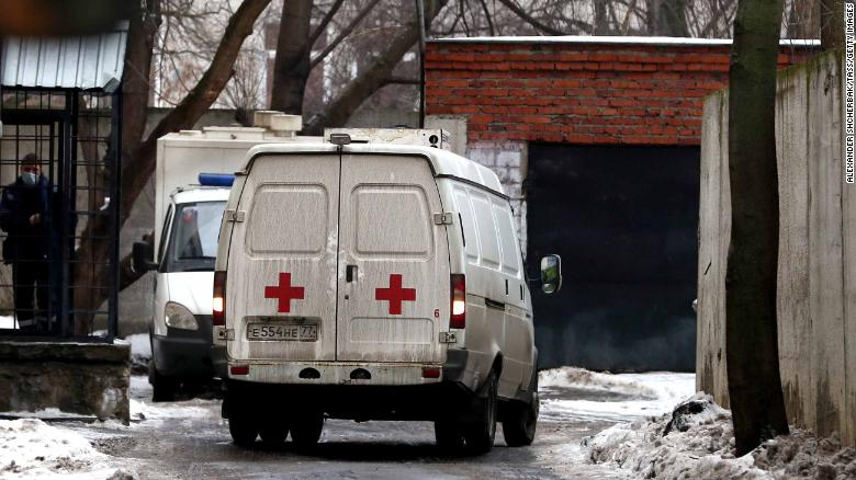 An ambulance at Moscow's Chertanovsky District Court, where Viktor Sviridov died by suicide.