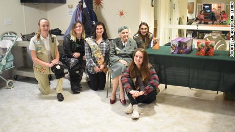 Ronnie and her fellow scouts of Troop #1814 sold cookies at her retirement home.