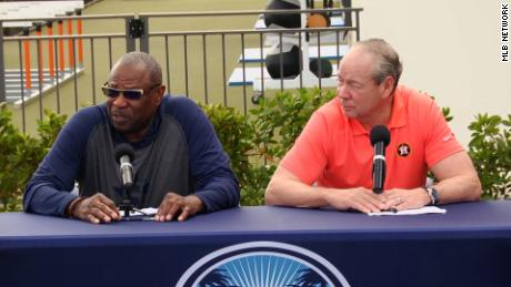 The Houston Astros' new manager, Dusty Baker, and team owner Jim Crane talk to reporters on Thursday in West Palm Beach, Florida.