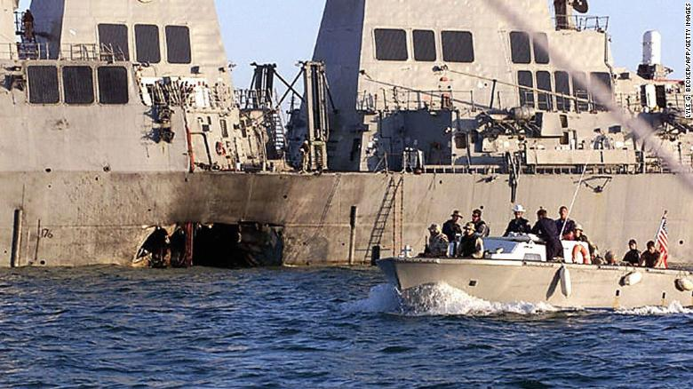 USS Cole was attacked in 2000 by suicide bombers in a small boat while refueling in the port of Aden in Yemen.