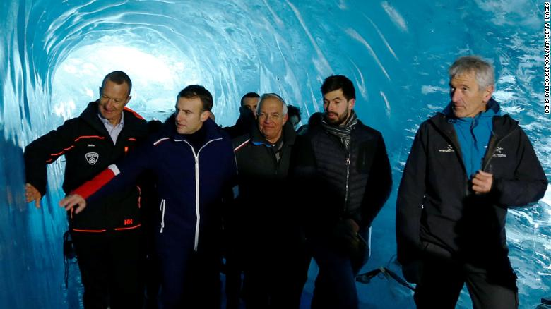 French president Emmanuel Macron visits the Mer de Glace glacier near Chamonix, France in the French Alps.