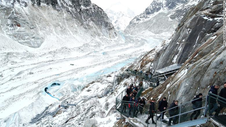 Like many of the world's glaciers, France's Mer de Glace is melting rapidly due to clmate change.