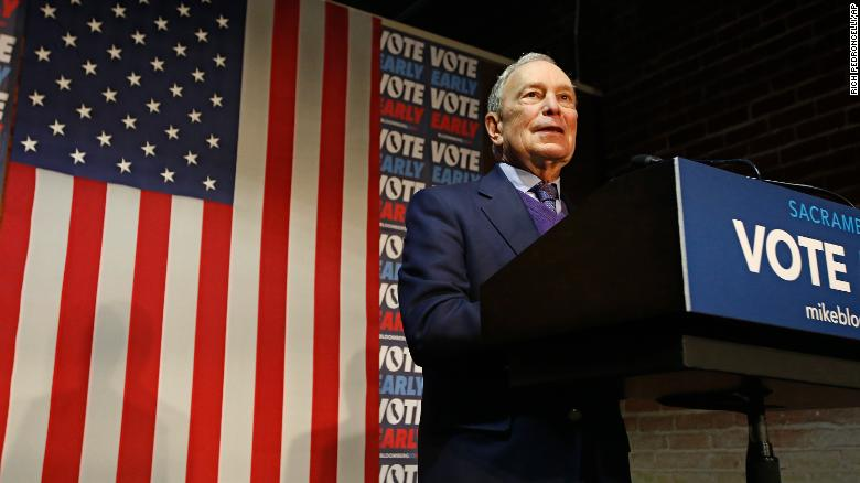Bloomberg addresses supporters during a campaign stop in Sacramento, California.