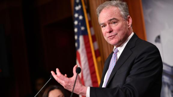 Senator Tim Kaine(D-VA), speaks following the Senate voted on the War Powers resolution, at the US Capitol in Washington, DC on February 13, 2020. (Photo by MANDEL NGAN/AFP via Getty Images)