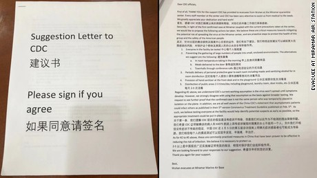 Evacuees from Wuhan, China, wrote a petition requesting they be tested for the novel coronavirus.