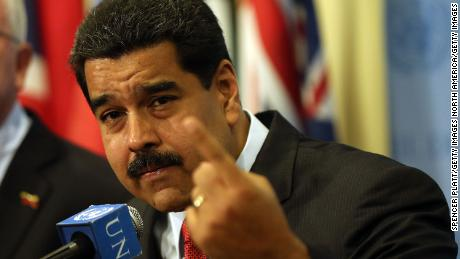 NEW YORK, NY - JULY 28:  Venezuelan President Nicolas Maduro speaks to the media following a meeting with UN chief Ban Ki-moon at the United Nations (UN) headquarters in New York on July 28, 2015 in New York City. Maduro is in New York to speak with the UN about his country's escalating border dispute with Guyana.  (Photo by Spencer Platt/Getty Images)