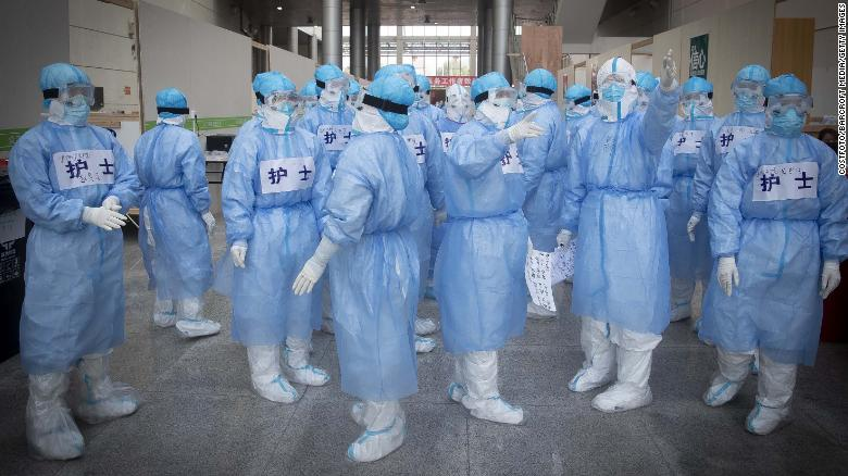 Nurses gather in a hospital in Wuhan City on February 12.