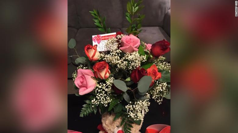 Rich's first Valentine's Day flower delivery surprised Tracey in 2013.