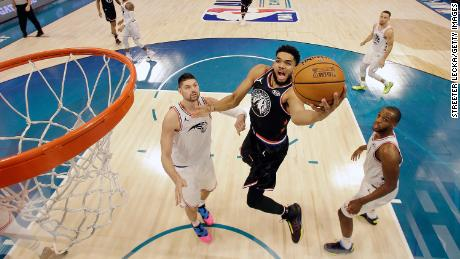 Karl-Anthony Towns of the Minnesota Timberwolves in the 2019 NBA All-Star game.