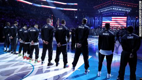 Team Giannis stands during pregame ceremonies before playing against Team LeBron at the 2019 NBA All-Star game.