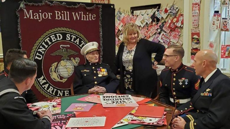 Maj. Bill White sitting with other veterens on Valentine's Day.