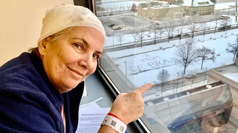 Her daugher's message is easily seen from Michelle Schambach's room at the Cleveland Clinic.
