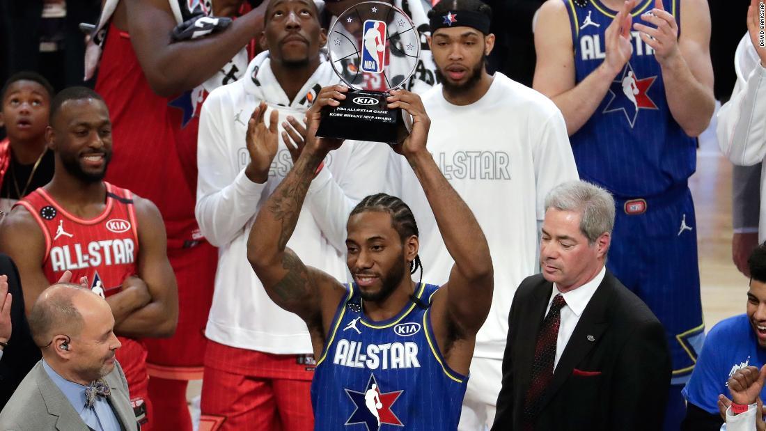 Kawhi Leonard benannt, der erste Gewinner der Kobe Bryant der MVP-Award der NBA-All-Star-Spiel