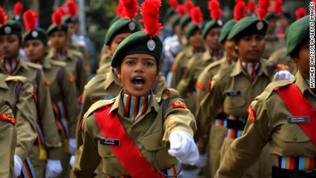 National Cadet Corps women practice during a rehearsal for Republic Day in January in Kolkata.