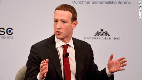 Facebook CEO Mark Zuckerberg speaks at the Munich Security Conference.