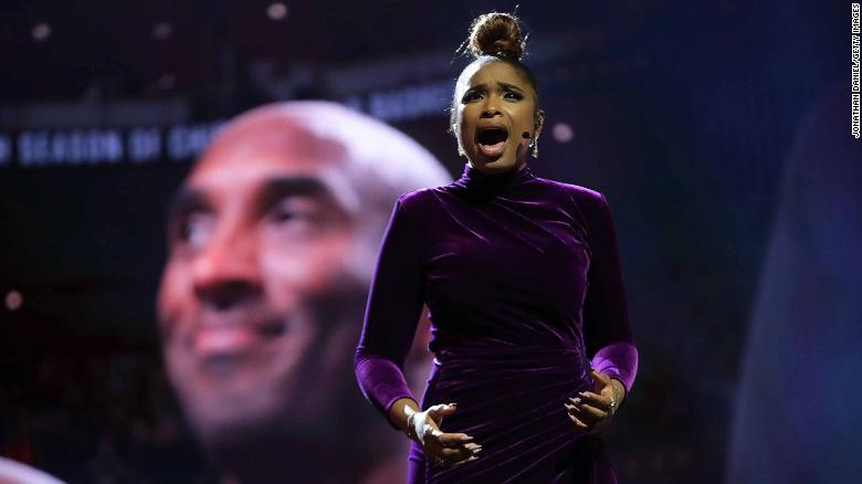Jennifer Hudson performs a tribute to Kobe Bryant before the NBA All-Star Game.