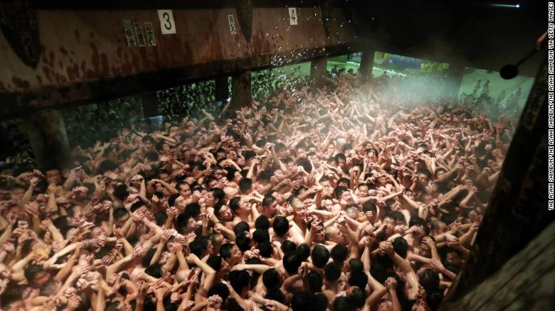 Naked Festival: Thousands gather for Japan's annual 'Hadaka Matsuri'