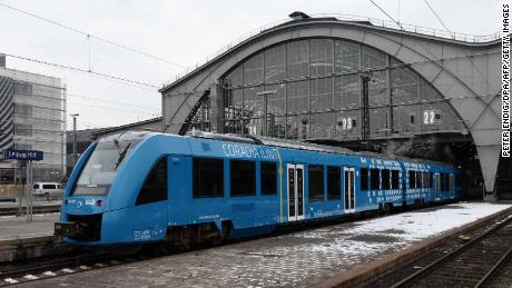 A hydrogen-powered train made by Alstom arrives at the station of Leipzig, Germany.