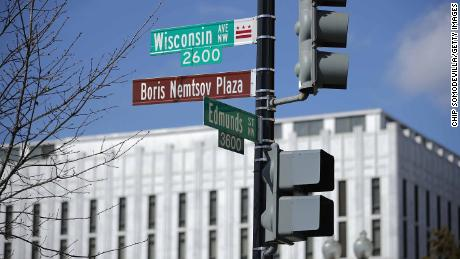 The street in front of the Russian embassy in Washington is named after Nemtsov.