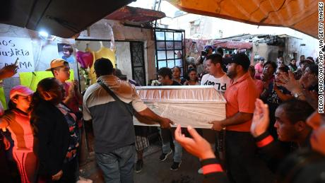 People carry the coffin during the funeral of seven-year-old Fátima, whose body was found over the weekend.