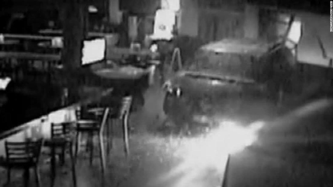 Thieves caught on camera driving minivan into restaurant