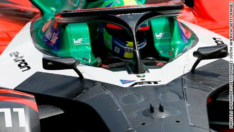 Lucas Di Grassi drives during the ePrix in Santiago, Chile.