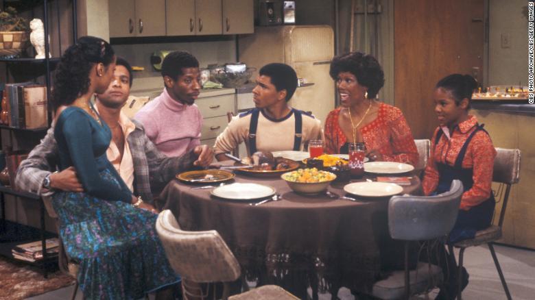 "BernNadette Stanis, Ben Powers, Jimmie Walker, Ralph Carter, Ja'Net DuBois and Janet Jackson in ""Good Times."""