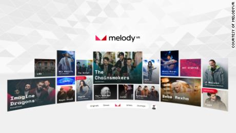 Browsing MelodyVR content on a headset.