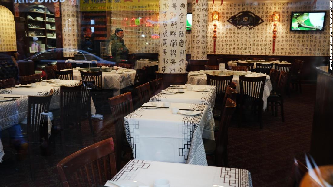 A restaurant in New York's Chinatown has no customers, despite zero cases of novel coronavirus in the state of New York.