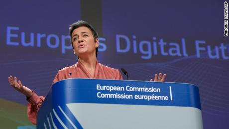 EU Commissioner Margrethe Vestager speaks at a press conference following the release of the bloc's strategy on data and a white paper on artificial intelligence.
