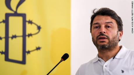 Amnesty International Turkey's Honorary Chair, Taner Kilic, pictured during a speech in Istanbul, 2018.
