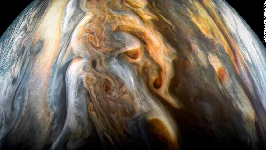 Part of Jupiter's southern equatorial region can be seen in this image captured by Juno's JunoCam imager. But it's flipped to show the expanse of Jupiter's atmosphere, with the poles to the left and right, rather than top to bottom.