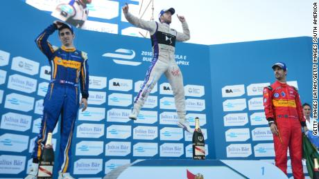 Bird celebrates at the podium after winning the Buenos Aires ePrix.