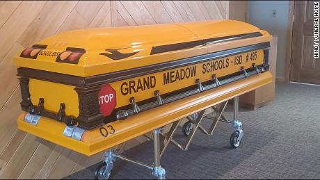 Minnesota school bus driver Glen Davis ferried kids to and from school for 55 years before his death. His casket is an homage to his best-loved job.
