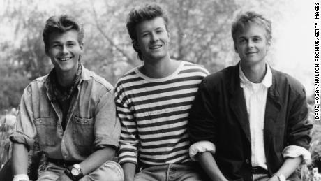 A-ha members Morten Harket, Magne Furuholmen and Paul Waaktaar-Savoy in May 1987.