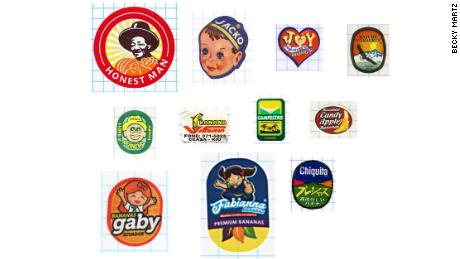 The Jacko banana label, second from the top left, is one of Martz's most prized pieces.